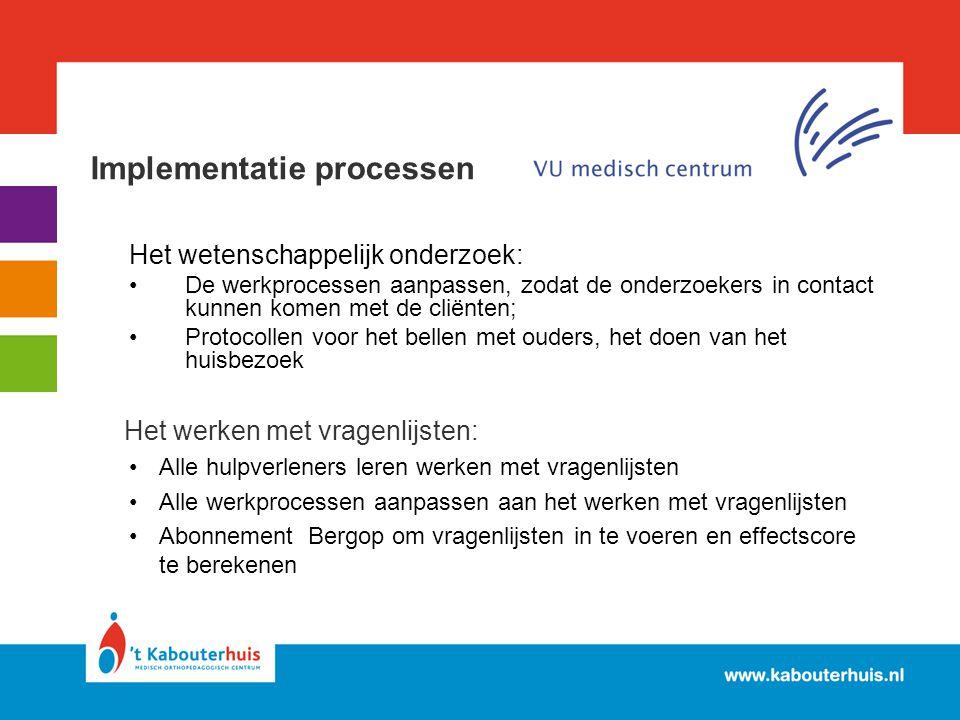 Implementatie processen Het wetenschappelijk onderzoek: De werkprocessen aanpassen, zodat de onderzoekers in contact kunnen komen met de cliënten; Pro