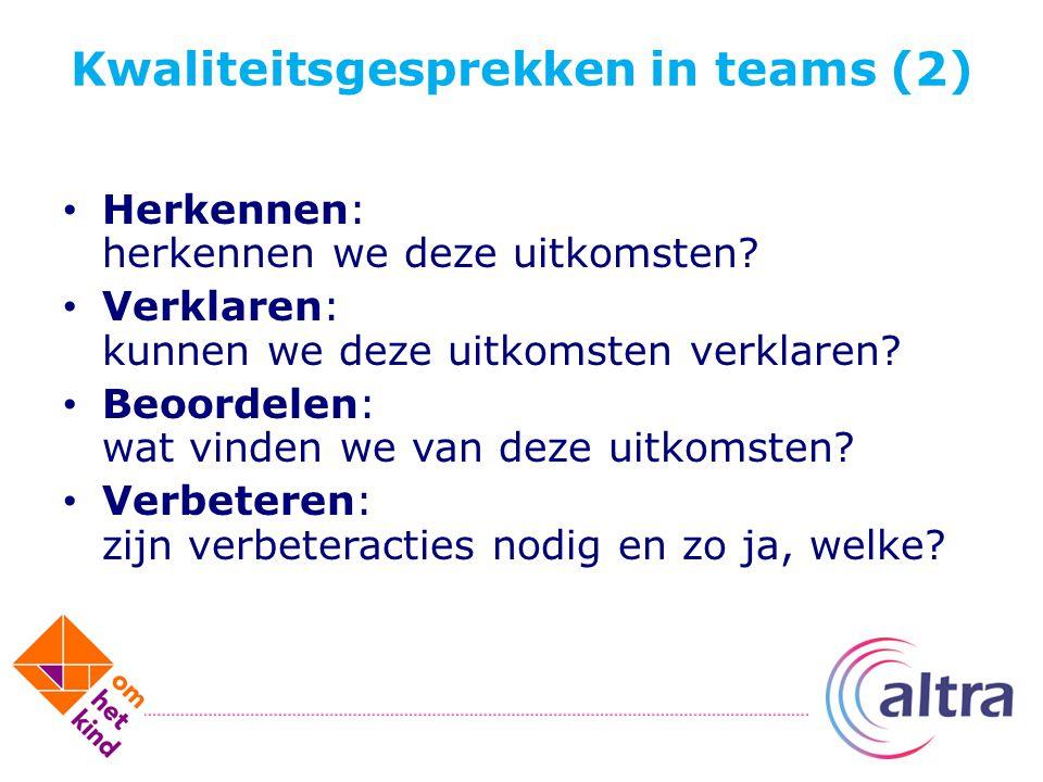 Kwaliteitsgesprekken in teams (2) Herkennen: herkennen we deze uitkomsten? Verklaren: kunnen we deze uitkomsten verklaren? Beoordelen: wat vinden we v