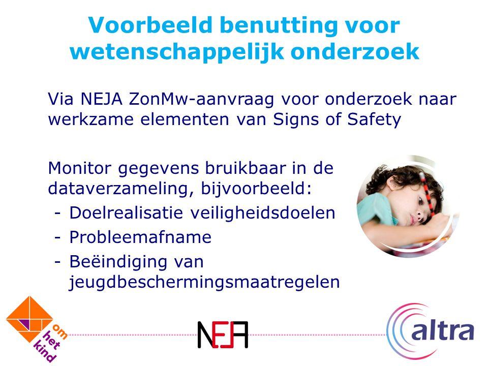 Voorbeeld benutting voor wetenschappelijk onderzoek Via NEJA ZonMw-aanvraag voor onderzoek naar werkzame elementen van Signs of Safety Monitor gegeven
