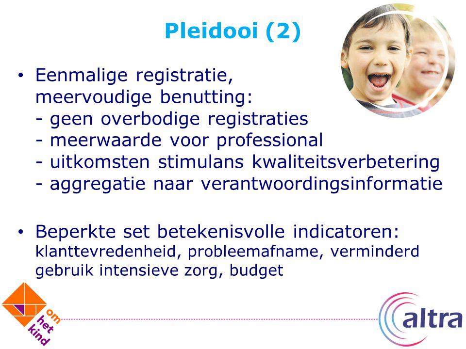 Pleidooi (2) Eenmalige registratie, meervoudige benutting: - geen overbodige registraties - meerwaarde voor professional - uitkomsten stimulans kwalit