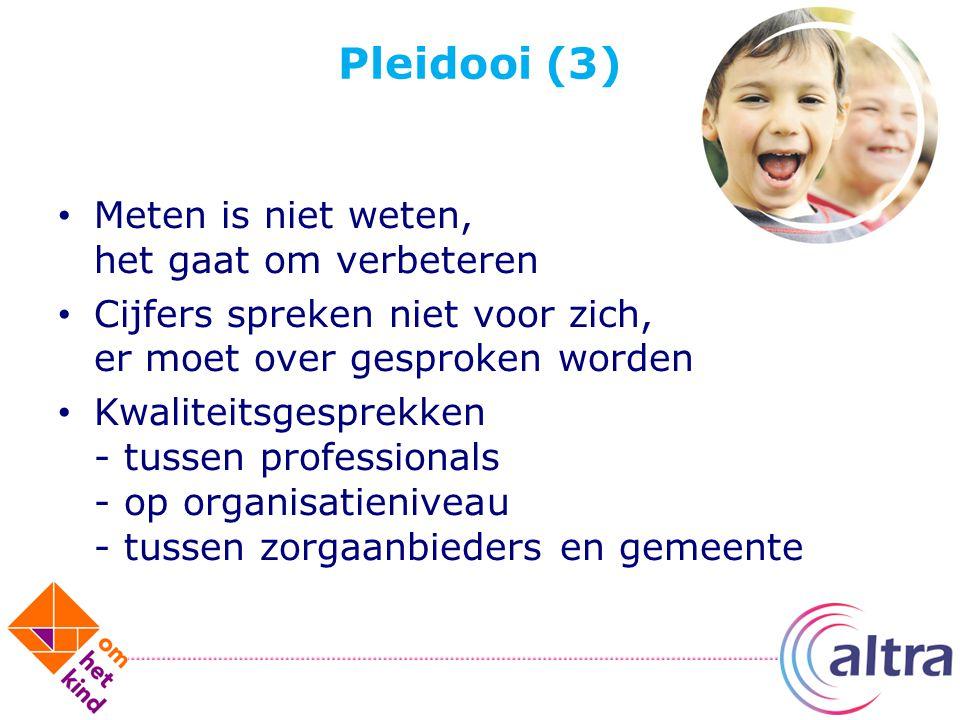 Pleidooi (3) Meten is niet weten, het gaat om verbeteren Cijfers spreken niet voor zich, er moet over gesproken worden Kwaliteitsgesprekken - tussen p