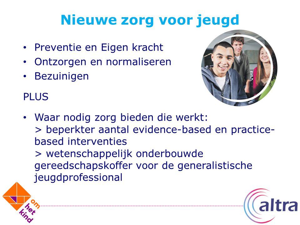 Nieuwe zorg voor jeugd Preventie en Eigen kracht Ontzorgen en normaliseren Bezuinigen PLUS Waar nodig zorg bieden die werkt: > beperkter aantal eviden