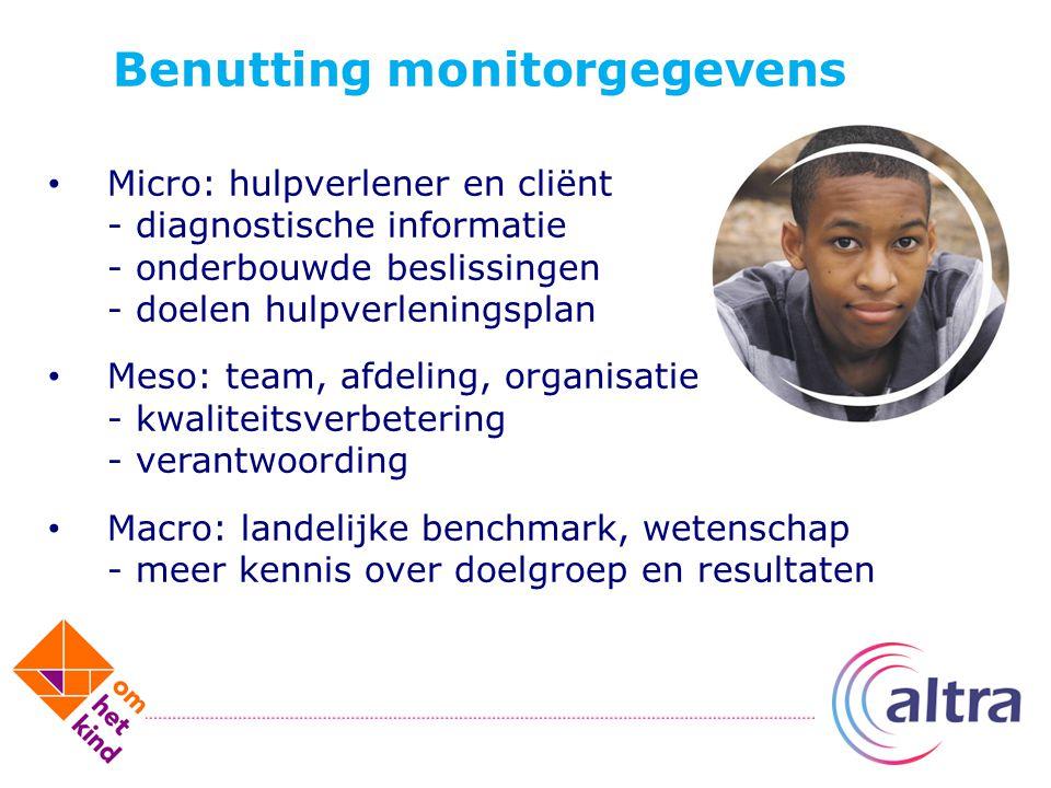 Benutting monitorgegevens Micro: hulpverlener en cliënt - diagnostische informatie - onderbouwde beslissingen - doelen hulpverleningsplan Meso: team,