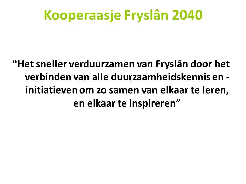 Het sneller verduurzamen van Fryslân door het verbinden van alle duurzaamheidskennis en - initiatieven om zo samen van elkaar te leren, en elkaar te inspireren