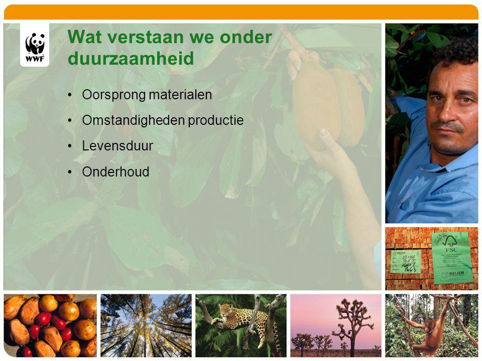 Wat verstaan we onder duurzaamheid Oorsprong materialen Omstandigheden productie Levensduur Onderhoud