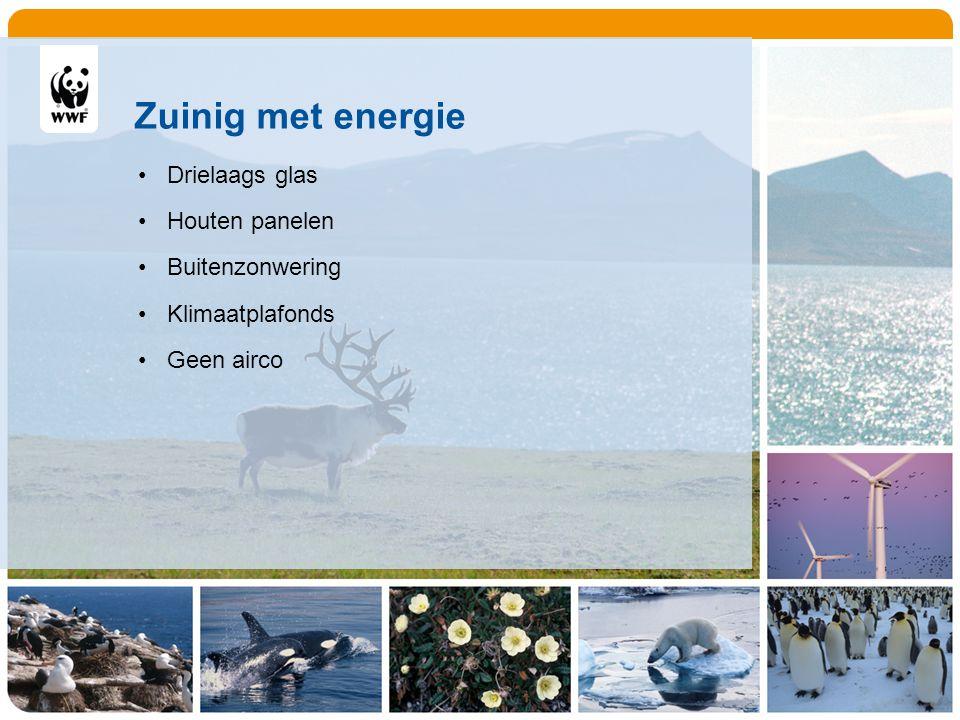 Zuinig met energie Drielaags glas Houten panelen Buitenzonwering Klimaatplafonds Geen airco