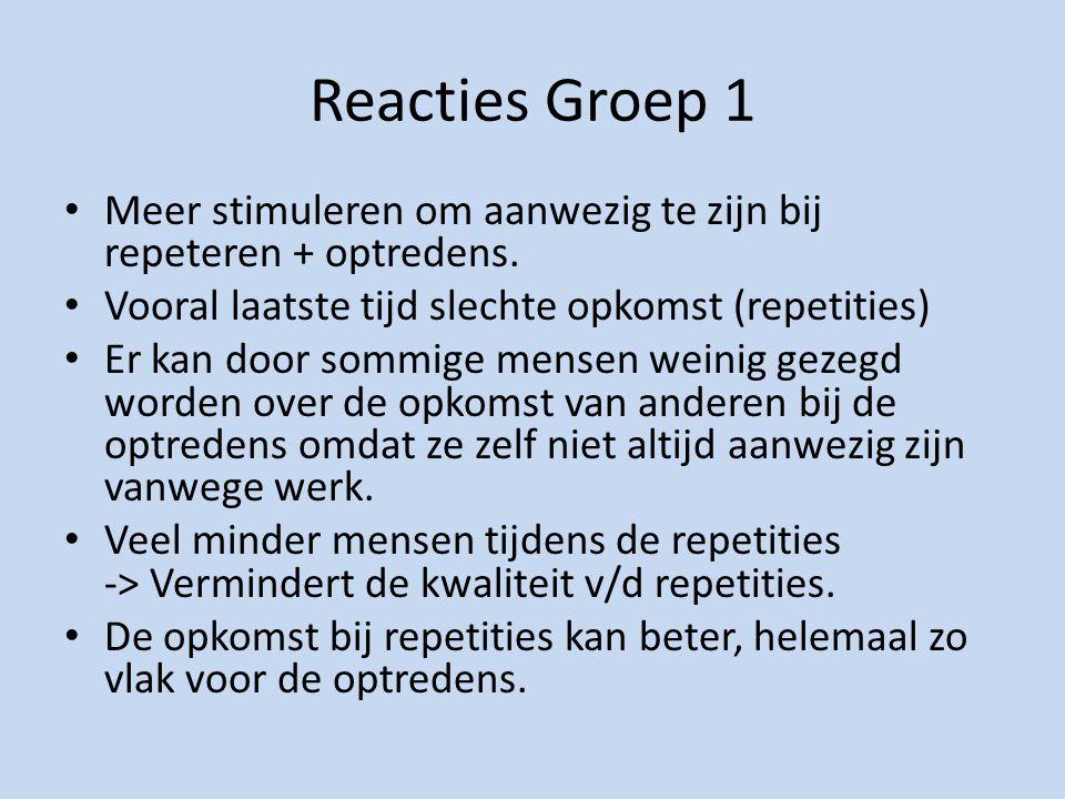 Reacties Groep 1 Meer stimuleren om aanwezig te zijn bij repeteren + optredens.