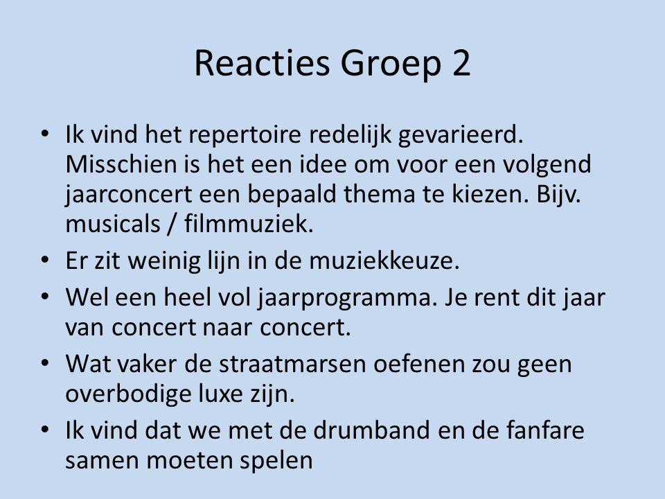 Reacties Groep 2 Ik vind het repertoire redelijk gevarieerd.