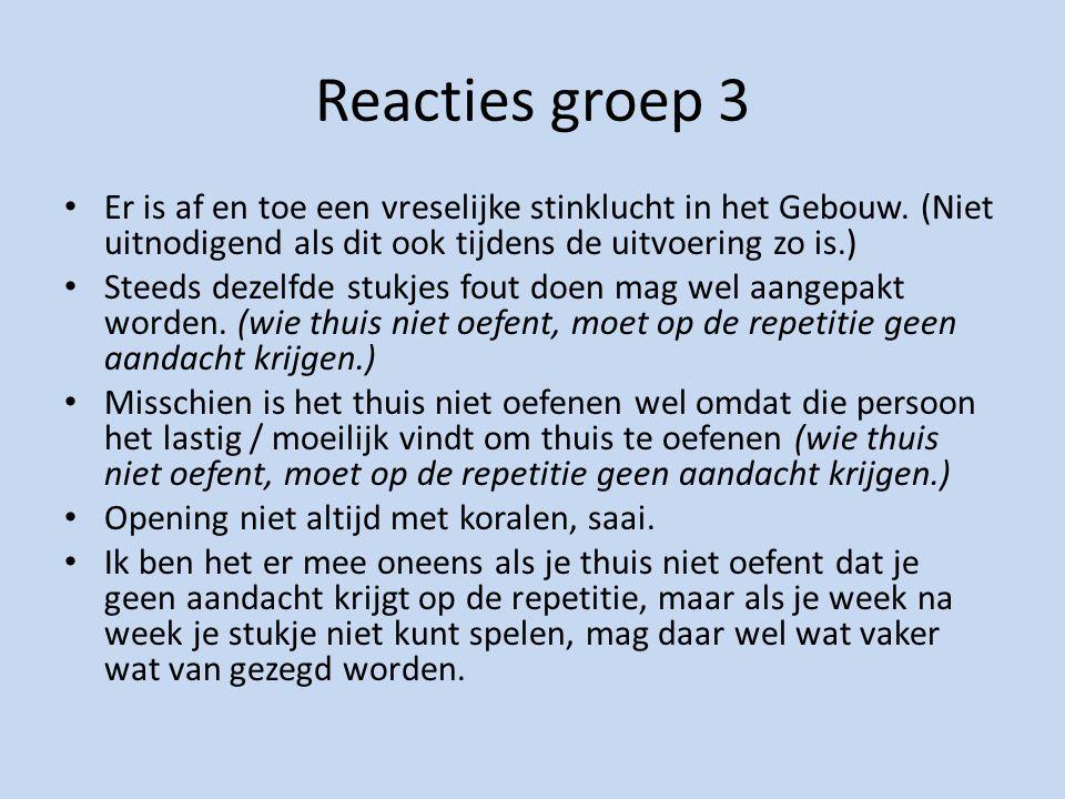 Reacties groep 3 Er is af en toe een vreselijke stinklucht in het Gebouw.