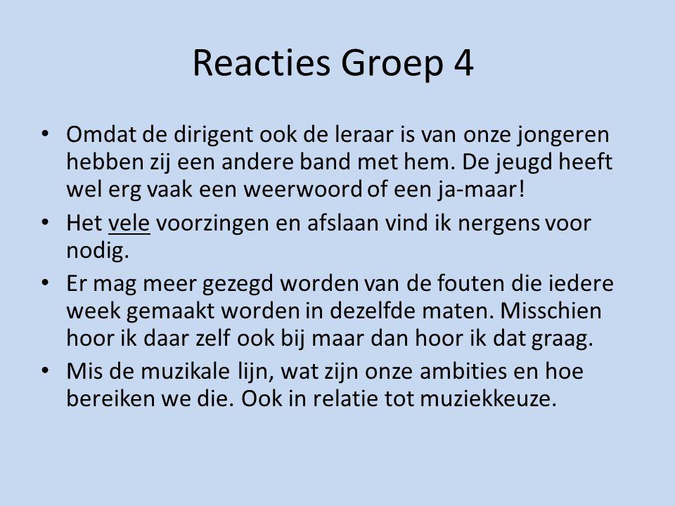 Reacties Groep 4 Omdat de dirigent ook de leraar is van onze jongeren hebben zij een andere band met hem.
