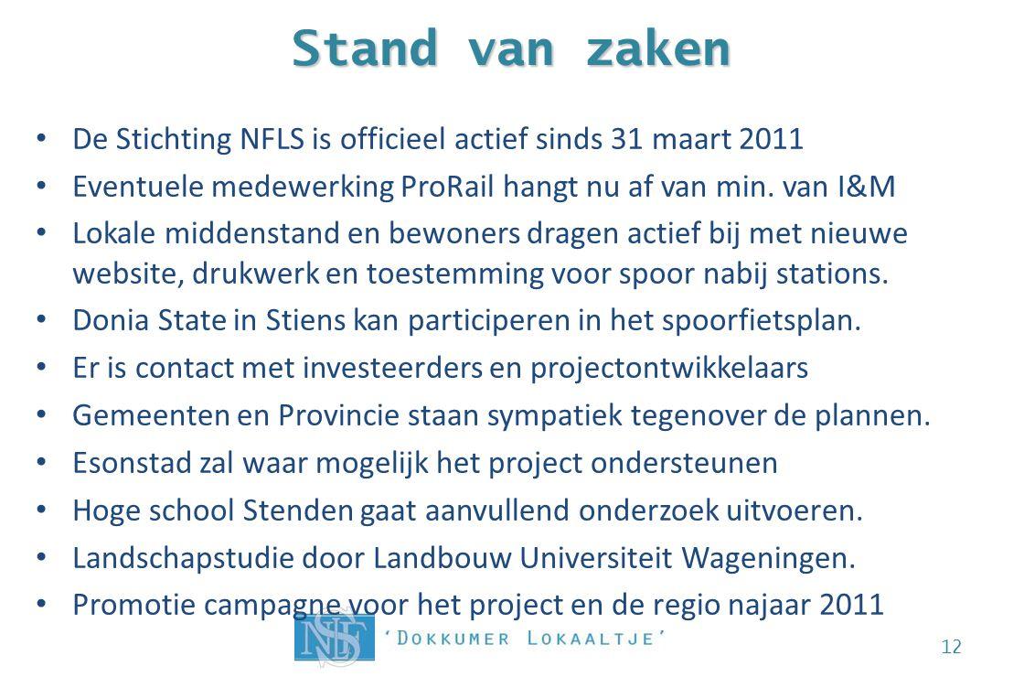 Stand van zaken De Stichting NFLS is officieel actief sinds 31 maart 2011 Eventuele medewerking ProRail hangt nu af van min. van I&M Lokale middenstan
