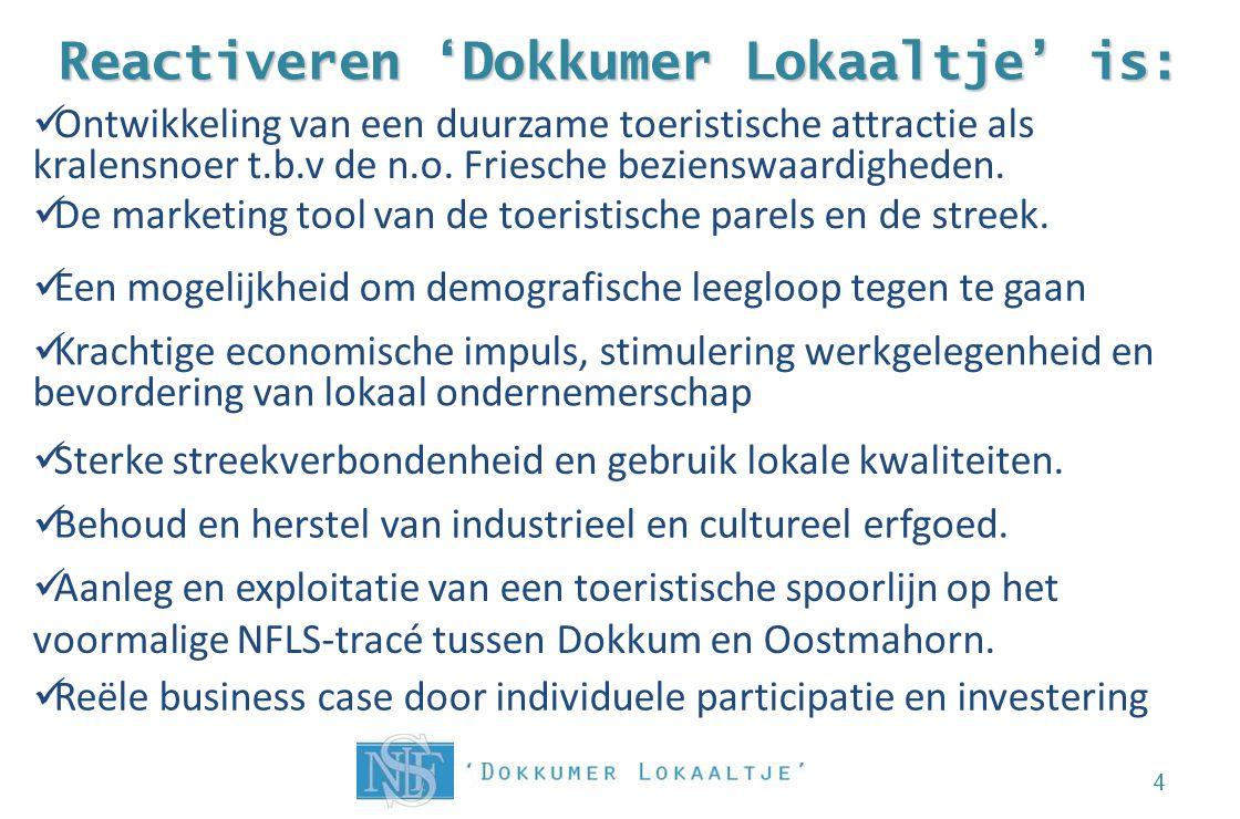Reactiveren 'Dokkumer Lokaaltje' is: 4 Aanleg en exploitatie van een toeristische spoorlijn op het voormalige NFLS-tracé tussen Dokkum en Oostmahorn.