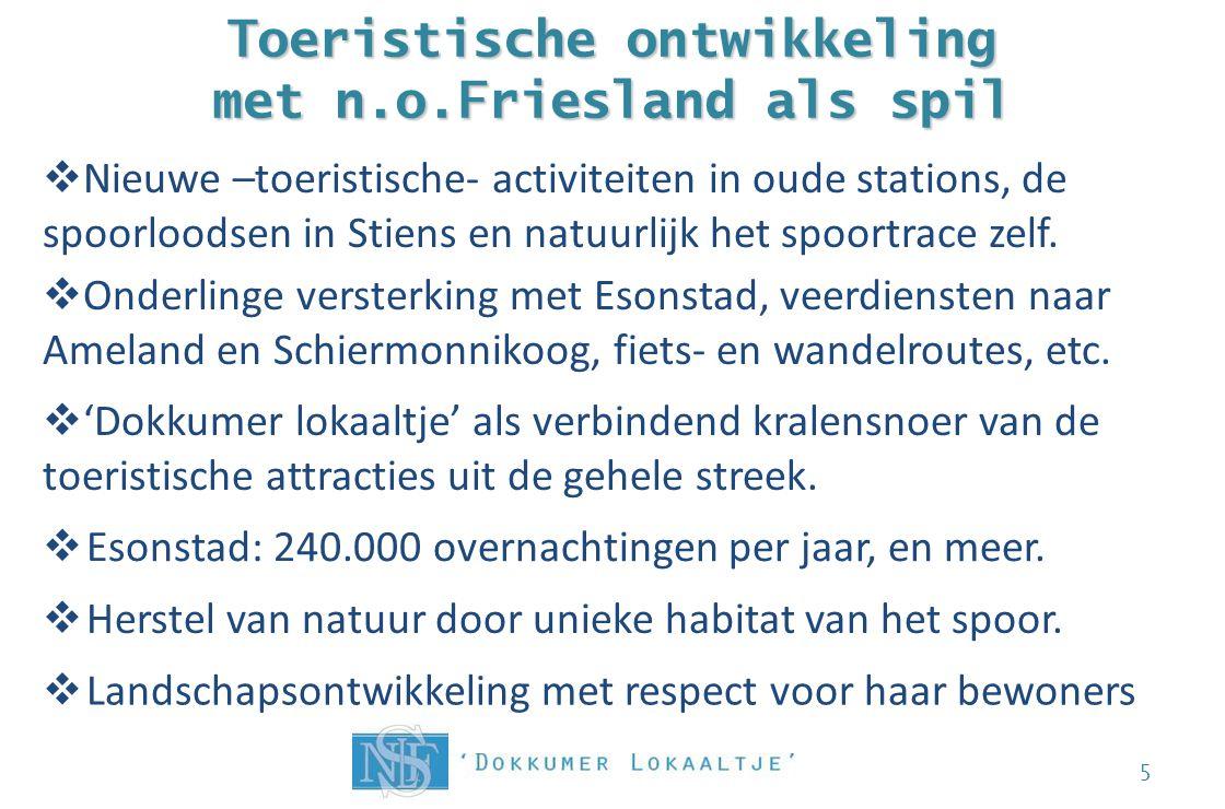 Toeristische ontwikkeling met n.o.Friesland als spil  Esonstad: 240.000 overnachtingen per jaar, en meer. 5  Nieuwe –toeristische- activiteiten in o