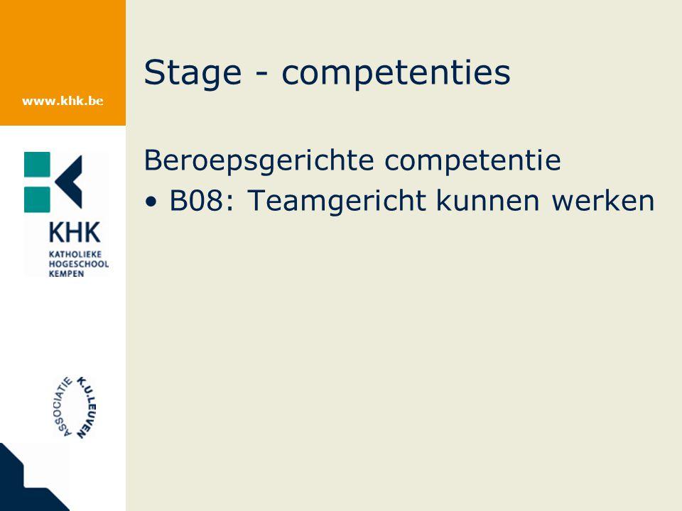 www.khk.be Stage - competenties Beroepsgerichte competentie B08: Teamgericht kunnen werken