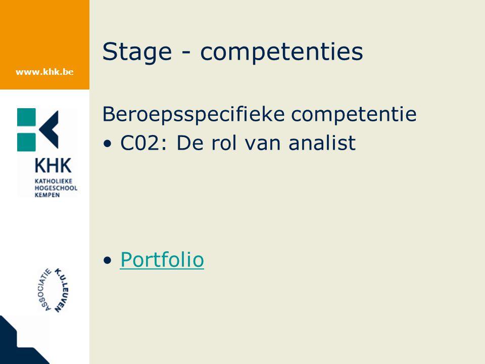 www.khk.be Stage - competenties Beroepsspecifieke competentie C02: De rol van analist Portfolio