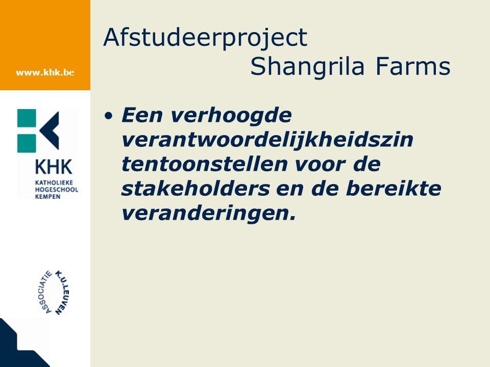www.khk.be Afstudeerproject Shangrila Farms Een verhoogde verantwoordelijkheidszin tentoonstellen voor de stakeholders en de bereikte veranderingen.