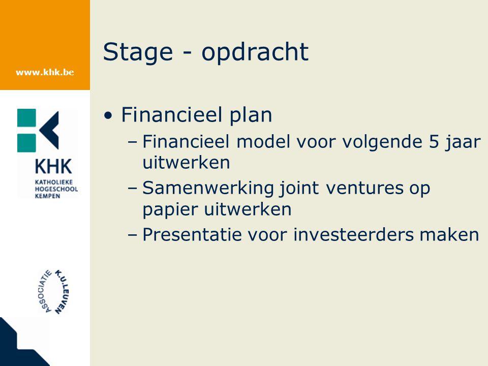 www.khk.be Stage - opdracht Financieel plan –Financieel model voor volgende 5 jaar uitwerken –Samenwerking joint ventures op papier uitwerken –Presentatie voor investeerders maken