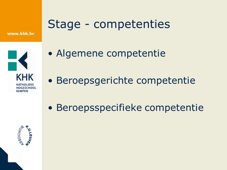 www.khk.be Stage - competenties Algemene competentie Beroepsgerichte competentie Beroepsspecifieke competentie