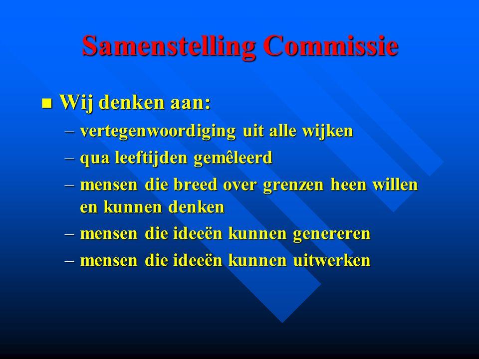 Samenstelling Commissie Wij denken aan: Wij denken aan: –vertegenwoordiging uit alle wijken –qua leeftijden gemêleerd –mensen die breed over grenzen h