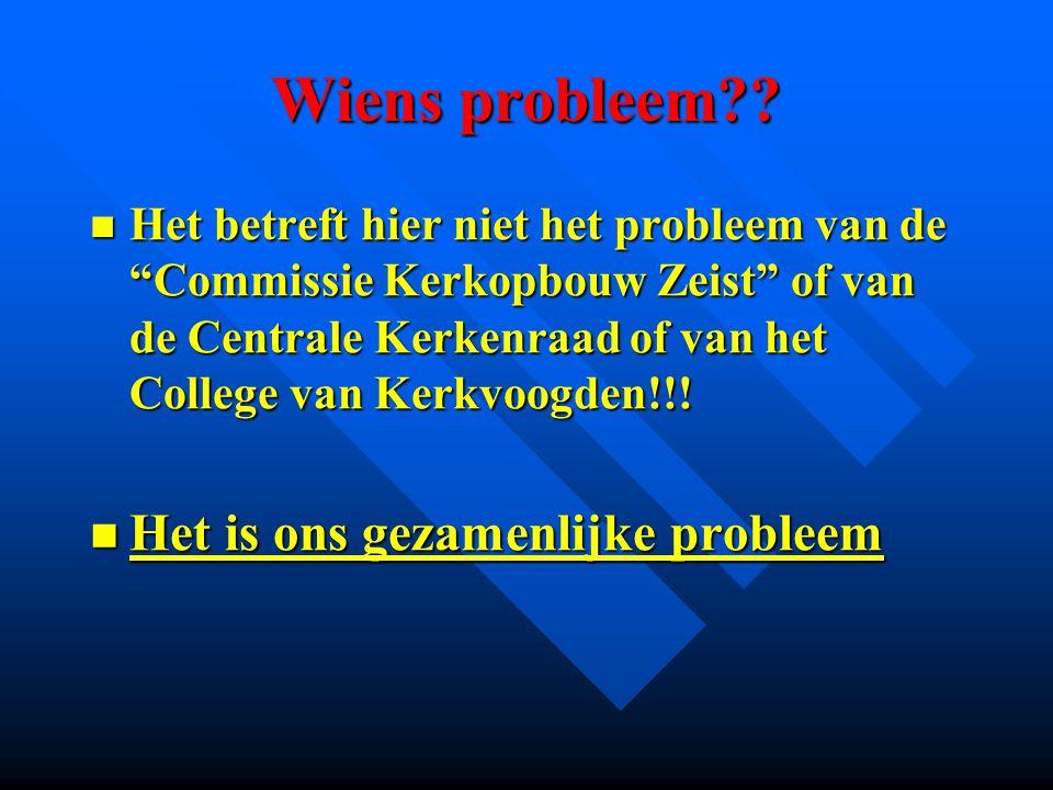 """Wiens probleem?? Het betreft hier niet het probleem van de """"Commissie Kerkopbouw Zeist"""" of van de Centrale Kerkenraad of van het College van Kerkvoogd"""