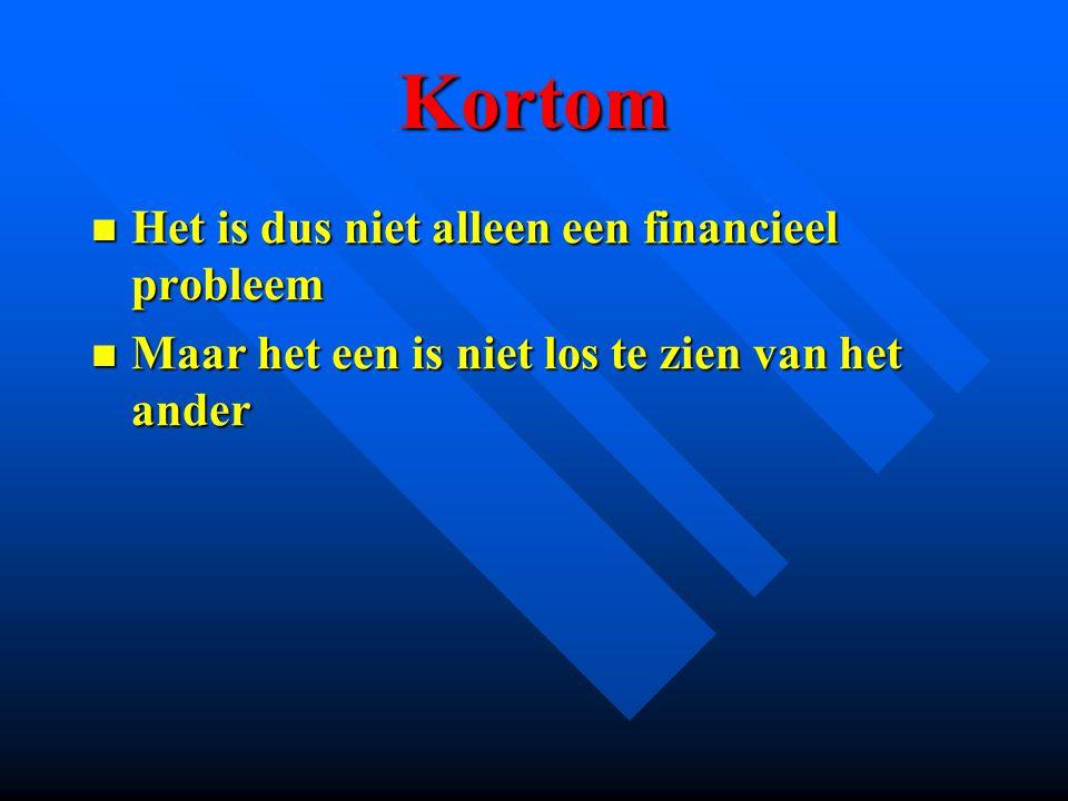 Kortom Het is dus niet alleen een financieel probleem Het is dus niet alleen een financieel probleem Maar het een is niet los te zien van het ander Ma
