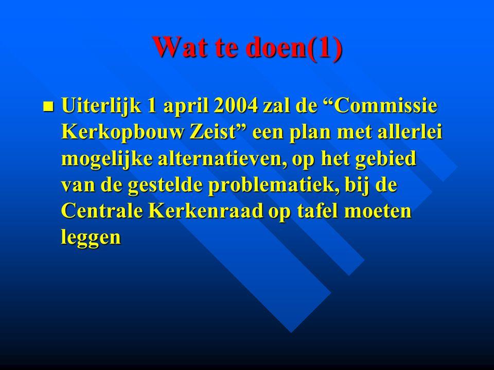 """Wat te doen(1) Uiterlijk 1 april 2004 zal de """"Commissie Kerkopbouw Zeist"""" een plan met allerlei mogelijke alternatieven, op het gebied van de gestelde"""
