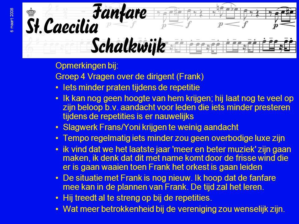 6 maart 2008 Opmerkingen bij: Groep 4 Vragen over de dirigent (Frank) Iets minder praten tijdens de repetitie Ik kan nog geen hoogte van hem krijgen; hij laat nog te veel op zijn beloop b.v.