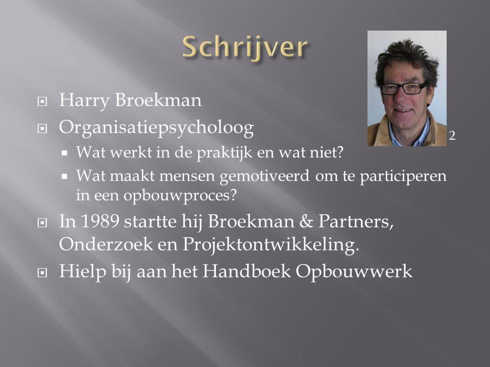  Harry Broekman  Organisatiepsycholoog  Wat werkt in de praktijk en wat niet?  Wat maakt mensen gemotiveerd om te participeren in een opbouwproces