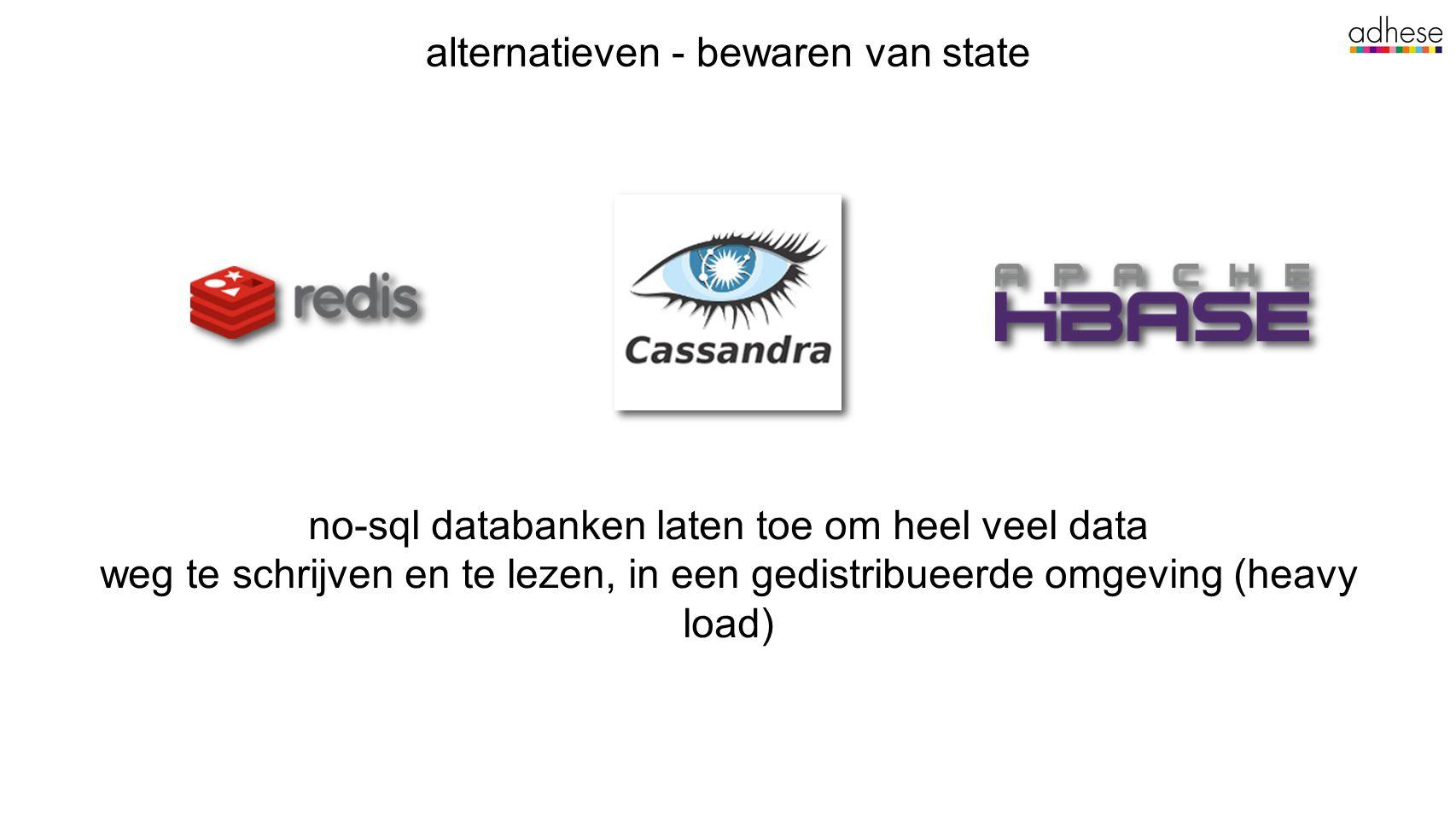 alternatieven - bewaren van state no-sql databanken laten toe om heel veel data weg te schrijven en te lezen, in een gedistribueerde omgeving (heavy load)