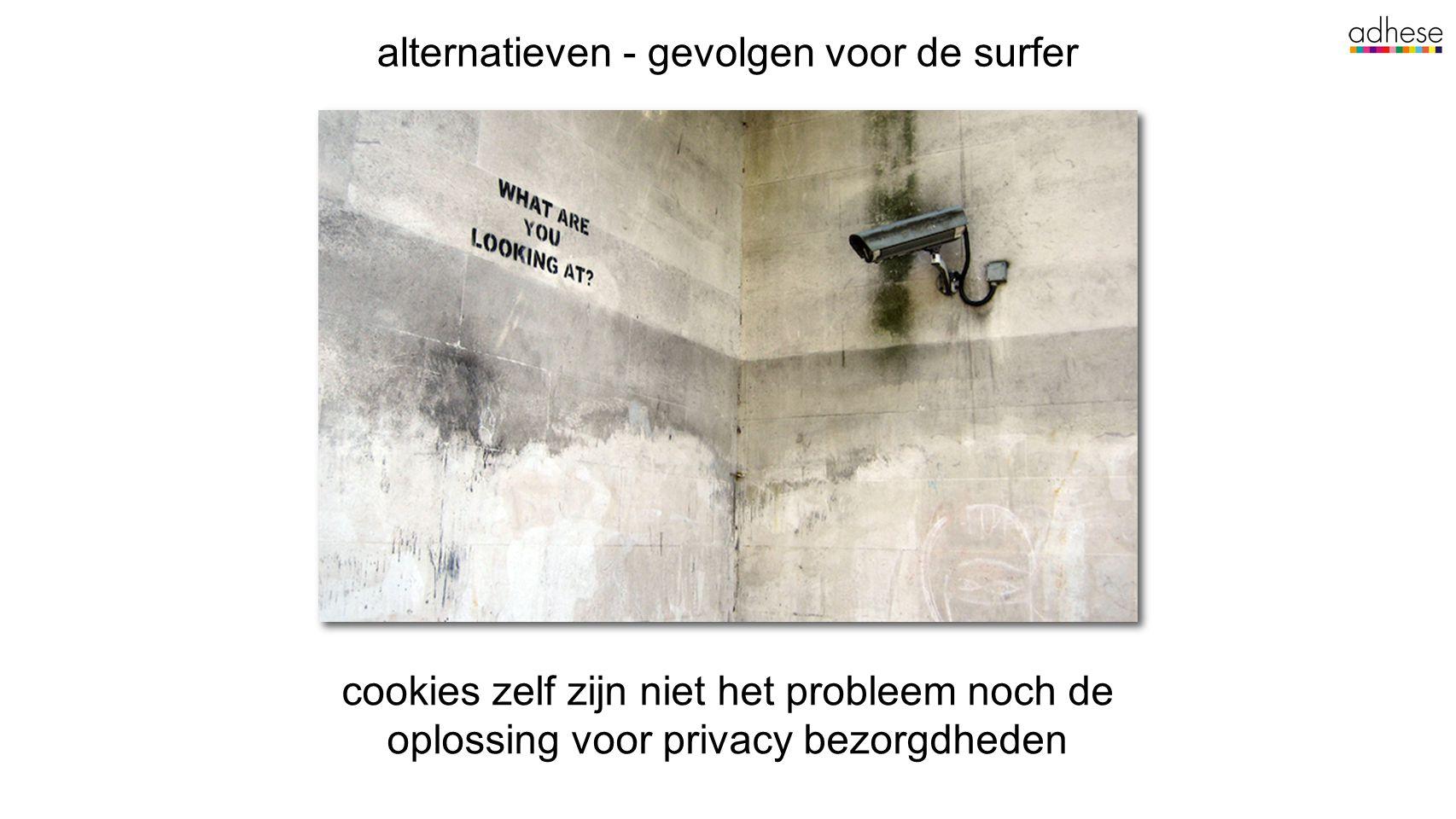 alternatieven - gevolgen voor de surfer cookies zelf zijn niet het probleem noch de oplossing voor privacy bezorgdheden