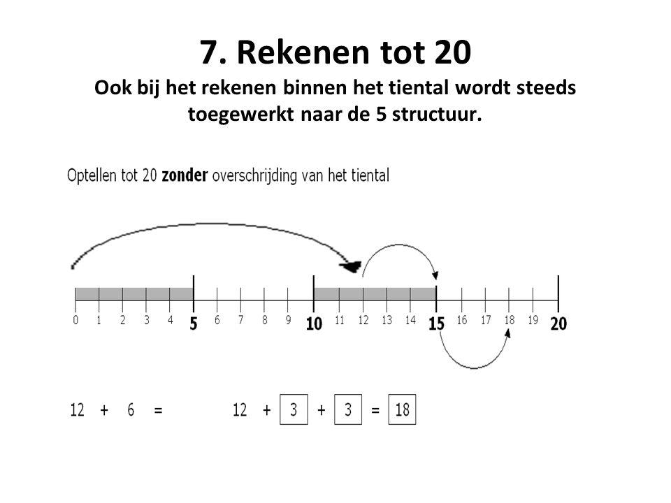 7. Rekenen tot 20 Ook bij het rekenen binnen het tiental wordt steeds toegewerkt naar de 5 structuur.