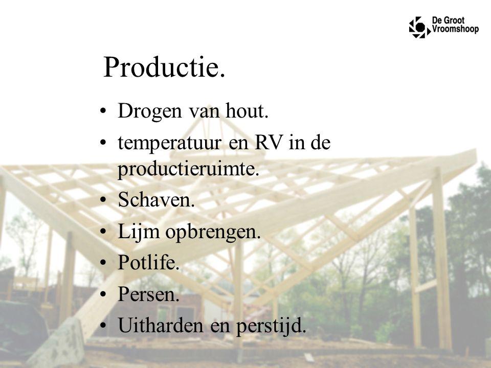 Productie. Drogen van hout. temperatuur en RV in de productieruimte. Schaven. Lijm opbrengen. Potlife. Persen. Uitharden en perstijd.