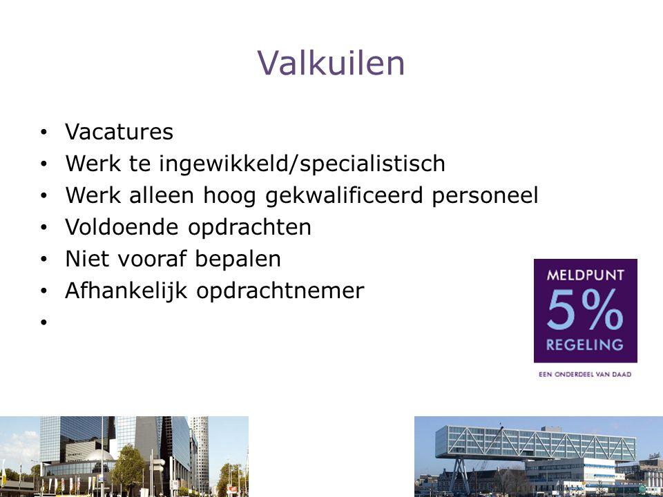 Valkuilen Vacatures Werk te ingewikkeld/specialistisch Werk alleen hoog gekwalificeerd personeel Voldoende opdrachten Niet vooraf bepalen Afhankelijk