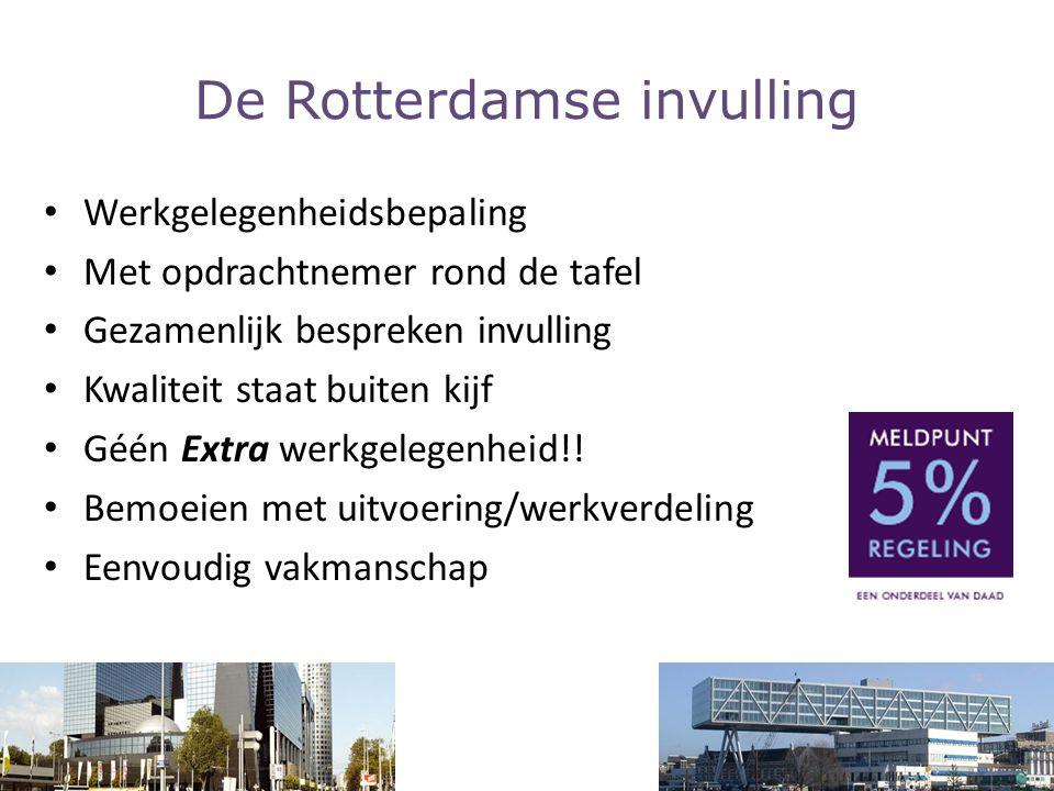 De Rotterdamse invulling Werkgelegenheidsbepaling Met opdrachtnemer rond de tafel Gezamenlijk bespreken invulling Kwaliteit staat buiten kijf Géén Ext
