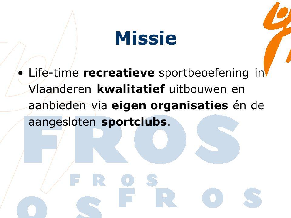 Missie Life-time recreatieve sportbeoefening in Vlaanderen kwalitatief uitbouwen en aanbieden via eigen organisaties én de aangesloten sportclubs.