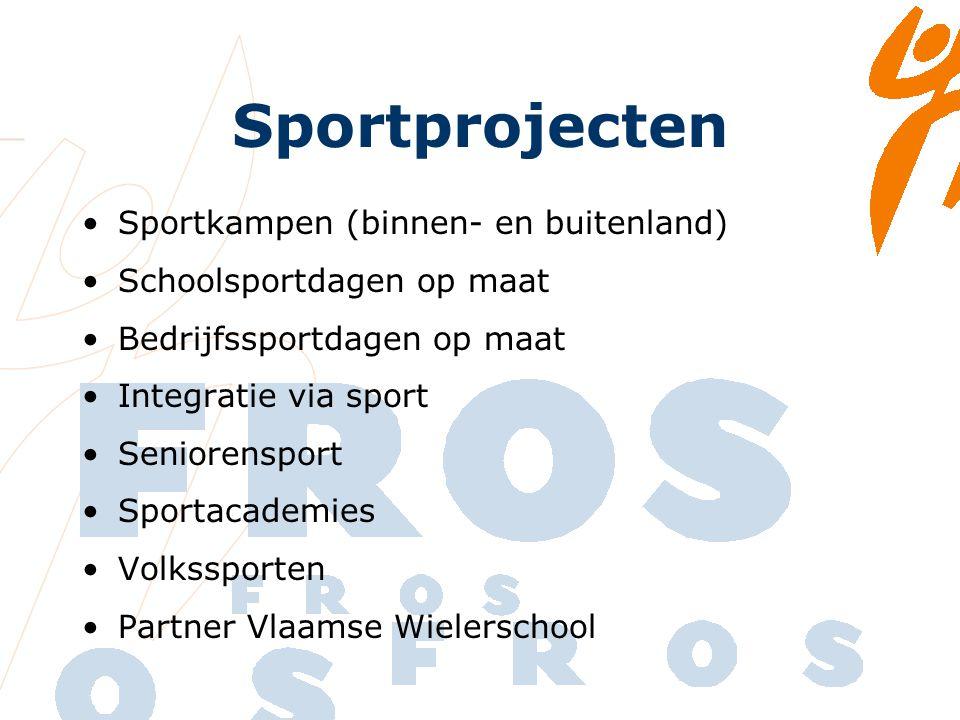 Sportprojecten Sportkampen (binnen- en buitenland) Schoolsportdagen op maat Bedrijfssportdagen op maat Integratie via sport Seniorensport Sportacademies Volkssporten Partner Vlaamse Wielerschool