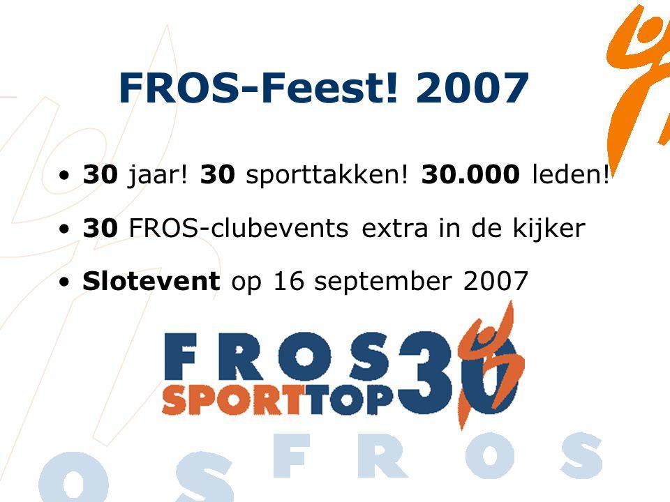 FROS-Feest. 2007 30 jaar. 30 sporttakken. 30.000 leden.