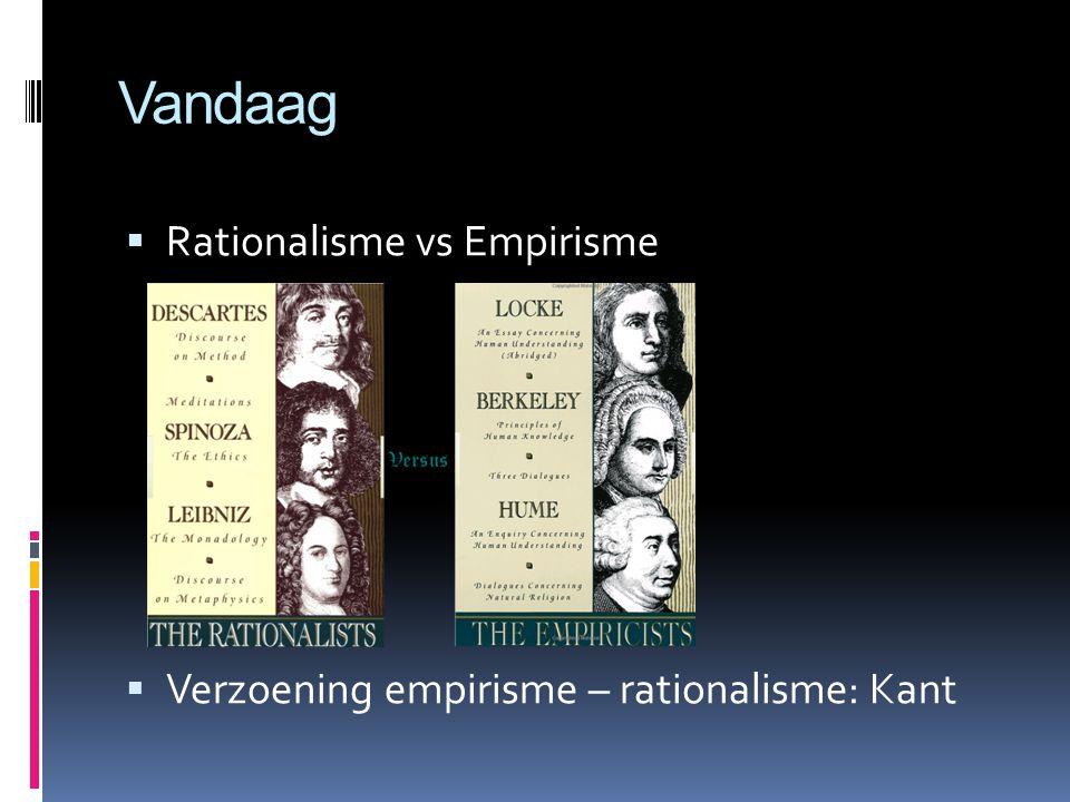 Vandaag  Rationalisme vs Empirisme  Verzoening empirisme – rationalisme: Kant
