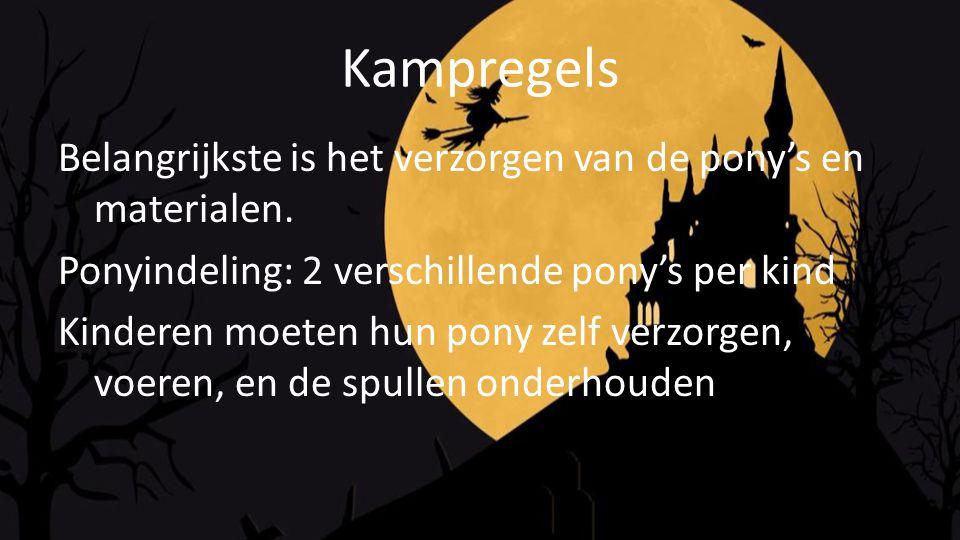 Kampregels Belangrijkste is het verzorgen van de pony's en materialen.