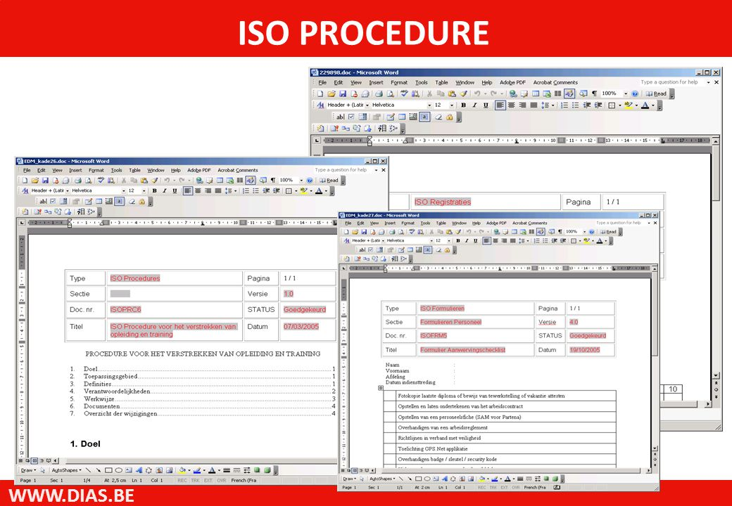 WWW.DIAS.BE ISO PROCEDURE