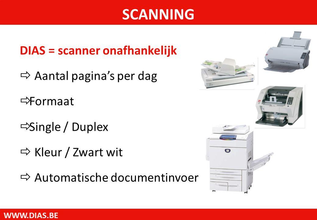 WWW.DIAS.BE DIAS = scanner onafhankelijk  Aantal pagina's per dag  Formaat  Single / Duplex  Kleur / Zwart wit  Automatische documentinvoer SCANNING