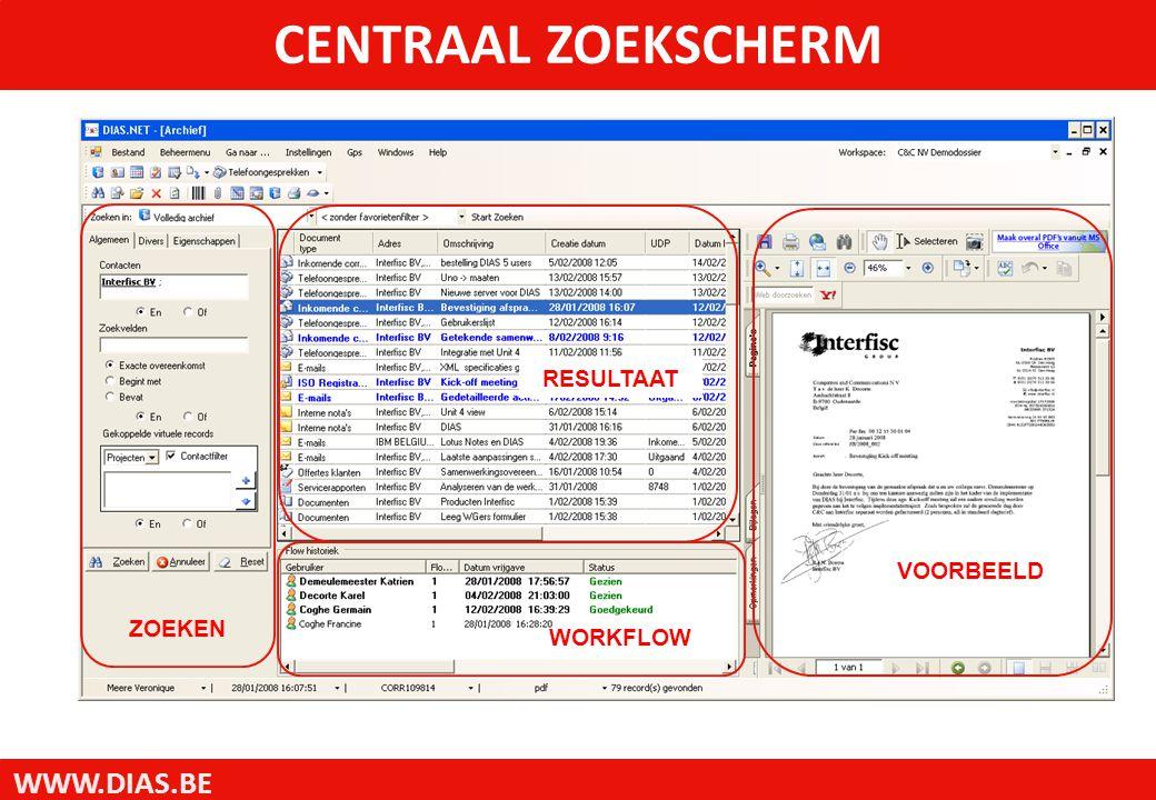 WWW.DIAS.BE CENTRAAL ZOEKSCHERM ZOEKEN RESULTAAT WORKFLOW VOORBEELD