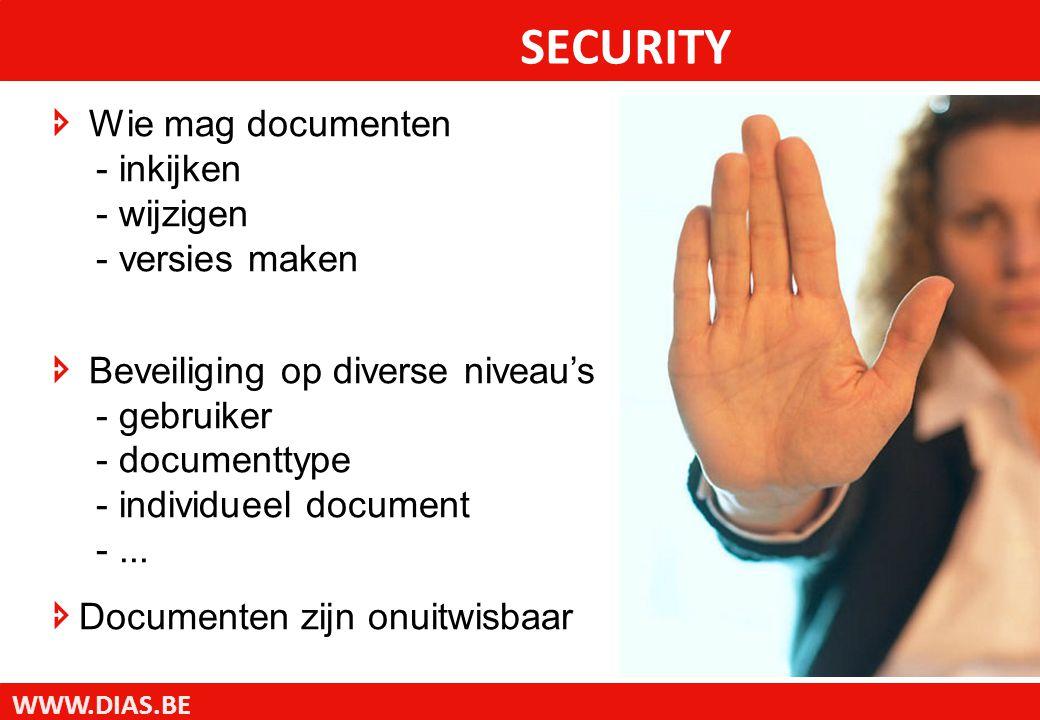 WWW.DIAS.BE SECURITY  Wie mag documenten - inkijken - wijzigen - versies maken  Beveiliging op diverse niveau's - gebruiker - documenttype - individueel document -...