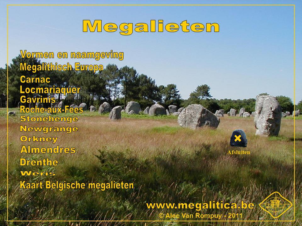 Vormen en naamgeving Staande stenen of menhirs Steencirkel of cromlech Menhirrij of alignement DolmenGanggraf Ganggraf (cairn)HengeGanggraf (tumulus) Kransstenen Afdekheuvel Kamer Dekstenen Draagstenen 1