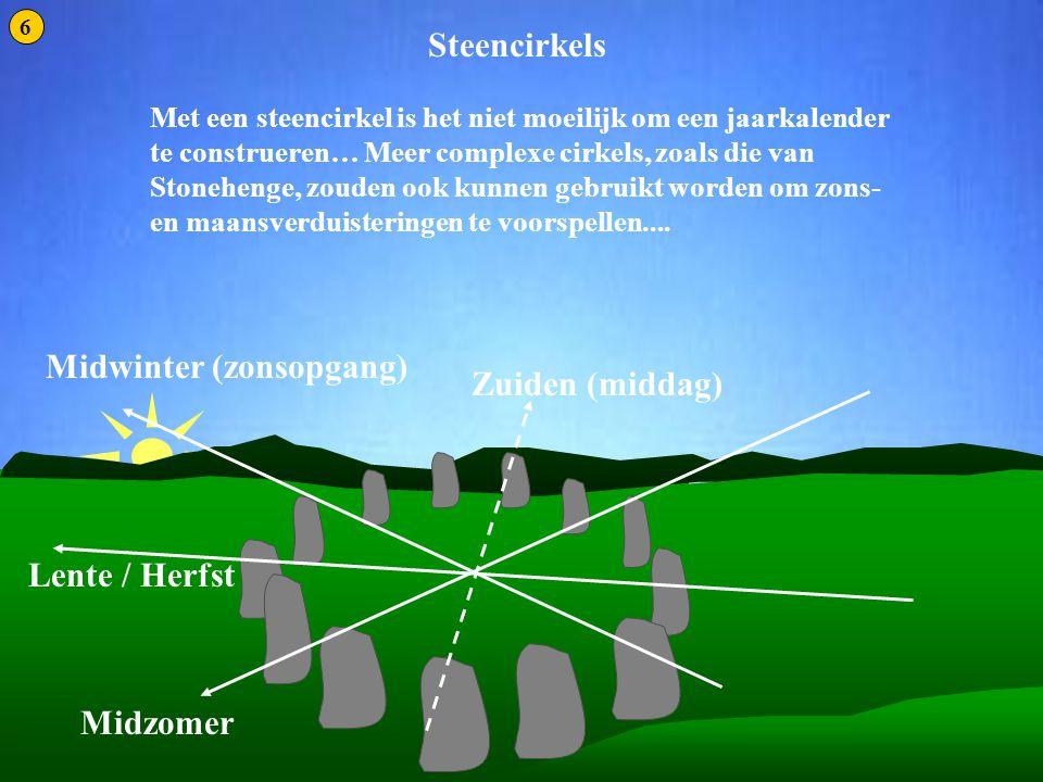 Steencirkels 1 Met een steencirkel is het niet moeilijk om een jaarkalender te construeren… Meer complexe cirkels, zoals die van Stonehenge, zouden oo