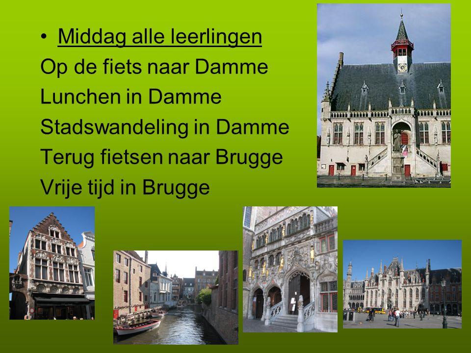 Middag alle leerlingen Op de fiets naar Damme Lunchen in Damme Stadswandeling in Damme Terug fietsen naar Brugge Vrije tijd in Brugge