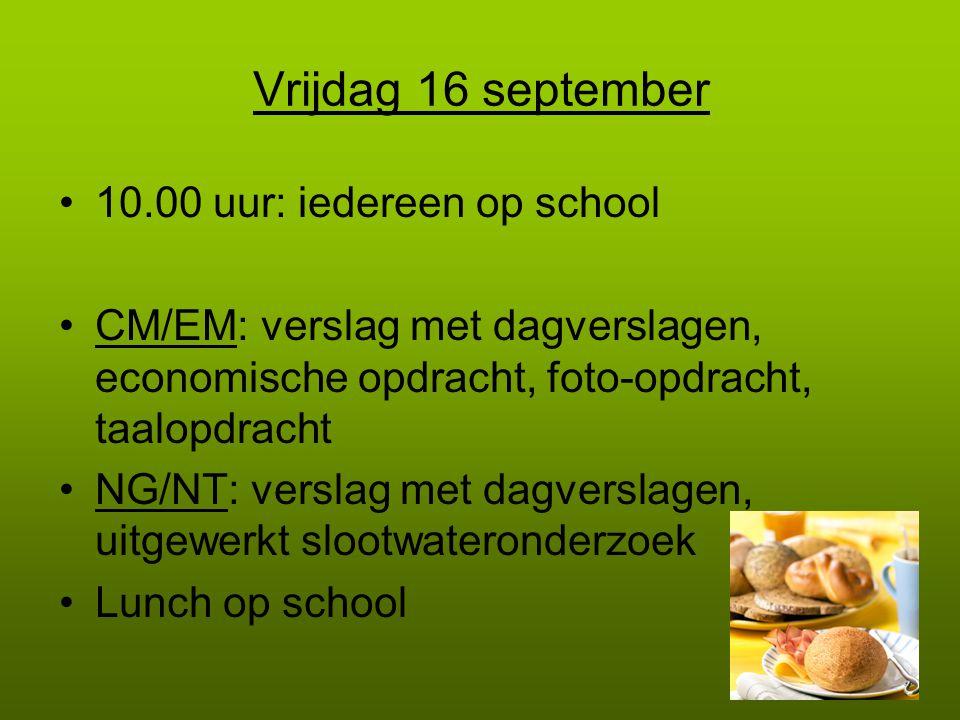 Vrijdag 16 september 10.00 uur: iedereen op school CM/EM: verslag met dagverslagen, economische opdracht, foto-opdracht, taalopdracht NG/NT: verslag met dagverslagen, uitgewerkt slootwateronderzoek Lunch op school
