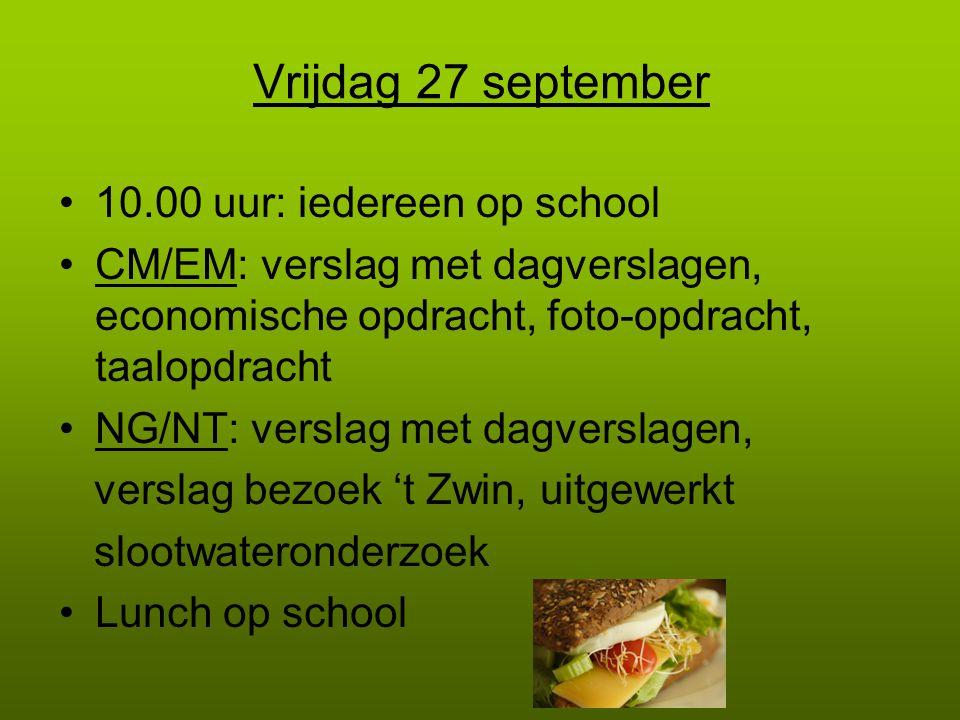 Vrijdag 27 september 10.00 uur: iedereen op school CM/EM: verslag met dagverslagen, economische opdracht, foto-opdracht, taalopdracht NG/NT: verslag m