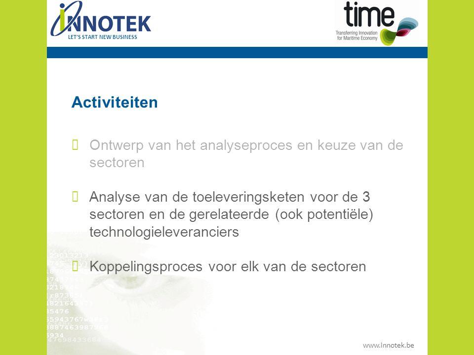 www.innotek.be LET'S START NEW BUSINESS De drie sectoren - grensoverschrijdend Logistiek/Security Fishing Industry (incl.