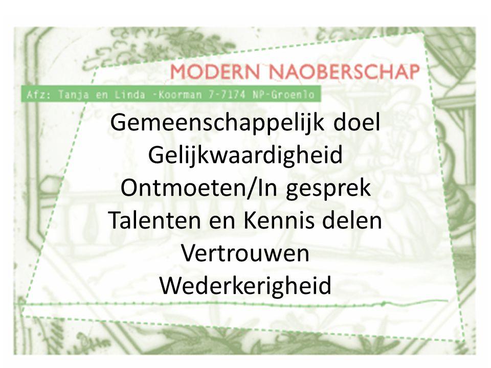 Gemeenschappelijk doel Gelijkwaardigheid Ontmoeten/In gesprek Talenten en Kennis delen Vertrouwen Wederkerigheid